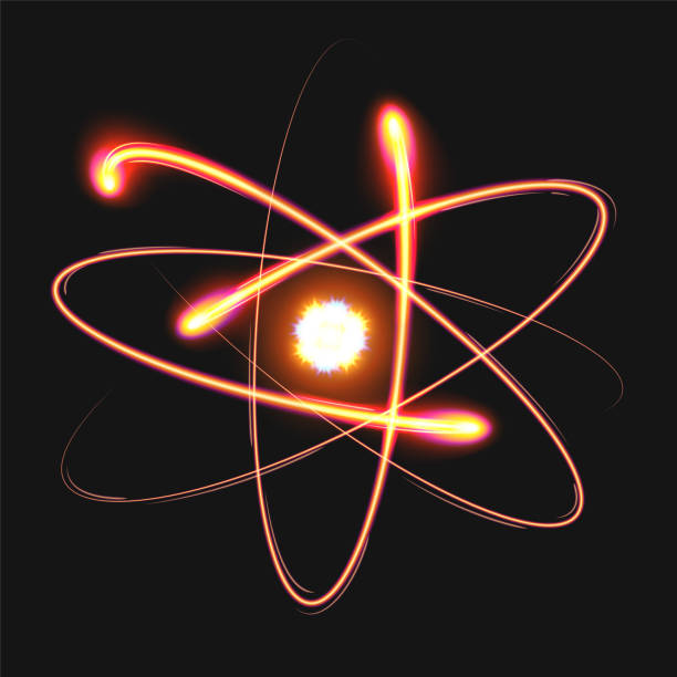 Atom structure model with nucleus surrounded by electrons. Vector illustration Atom structure model with nucleus surrounded by electrons. Technological concept of nuclear power. Vector illustration on a black background atom stock illustrations