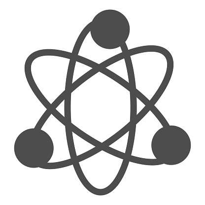 Atom structure solid icon. Corpuscle or nuclear model symbol, glyph style pictogram on white background. Physics and science sign for mobile concept and web design. Vector graphics.