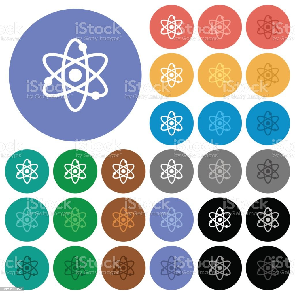 Atom symbol round flat multi colored icons vector art illustration