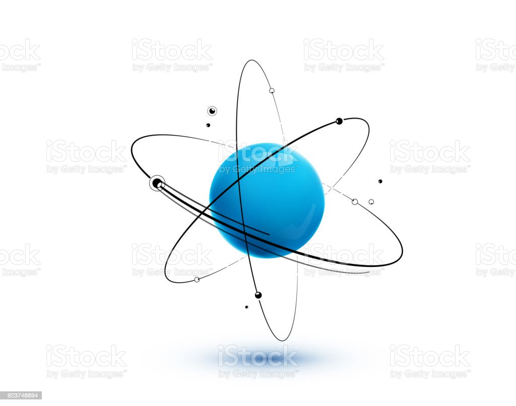 Atom with core, orbits and electrons isolated on white background vector art illustration