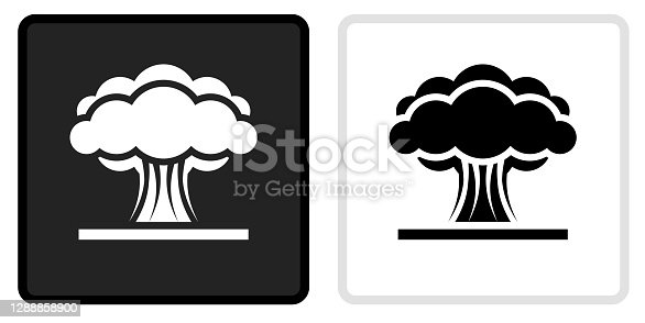 Atomic Explosion Icon on  Black Button with White Rollover. This vector icon has two  variations. The first one on the left is dark gray with a black border and the second button on the right is white with a light gray border. The buttons are identical in size and will work perfectly as a roll-over combination.