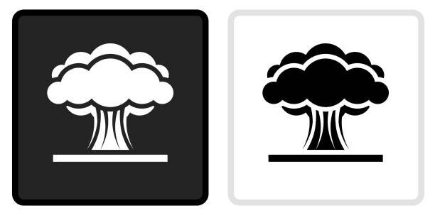 Atomic Explosion Icon on  Black Button with White Rollover vector art illustration