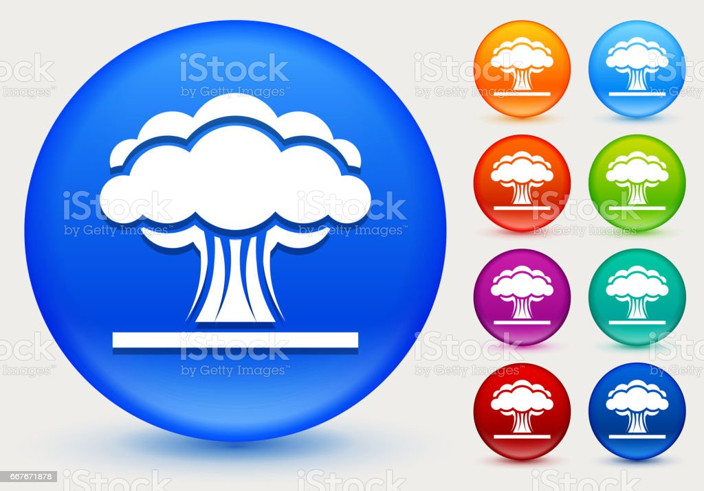 Atomic Explosion Icon on Shiny Color Circle Buttons vector art illustration