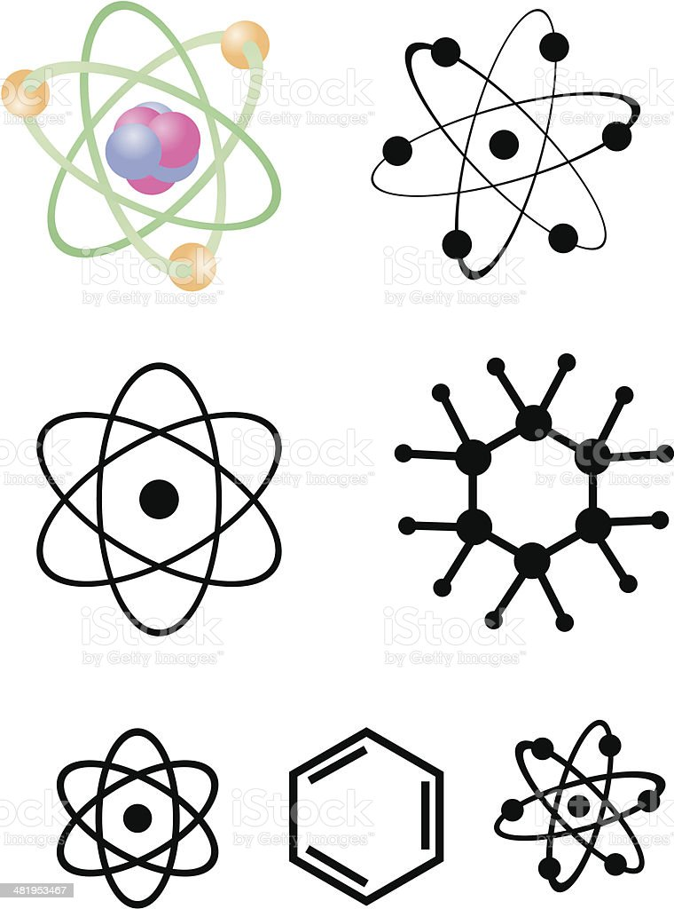 Atomic Icons and Symbols - 1 credit vector vector art illustration