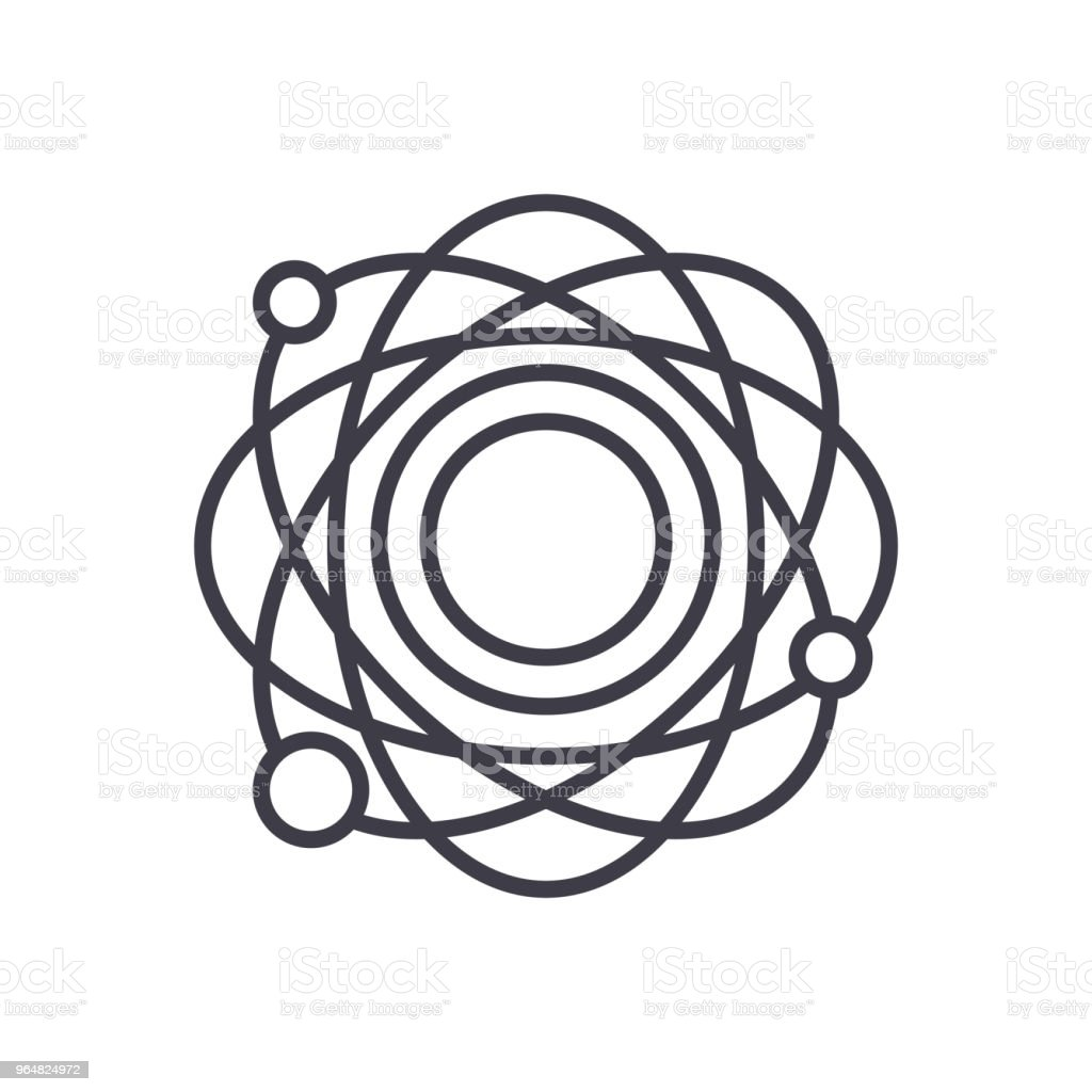 Atomic structure black icon concept. Atomic structure flat  vector symbol, sign, illustration. royalty-free atomic structure black icon concept atomic structure flat vector symbol sign illustration stock vector art & more images of abstract