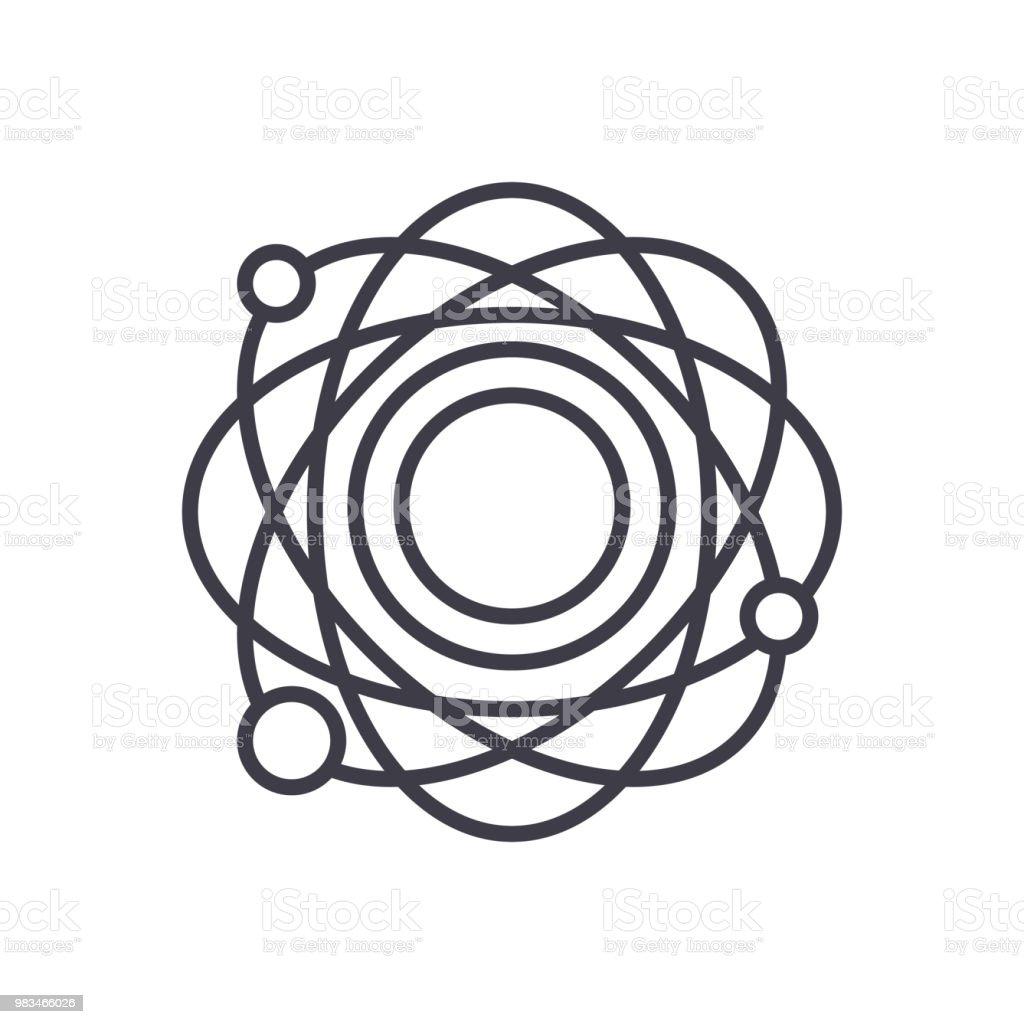 Ilustração De Conceito De ícone Preto Estrutura Atômica