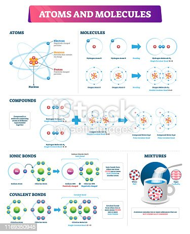 Atoms and molecules vector illustration. Labeled compounds bonds diagram. Ionic and covalent explanation scheme with educational example. Physics and chemistry substance element particles infographic.
