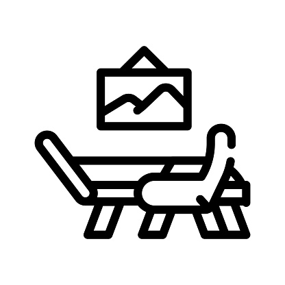 atributes cabinet of psychologist line icon vector illustration