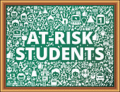 At-risk students School and Education Vector Icons on Chalkboard