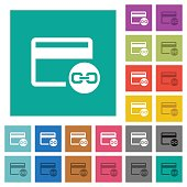 Attach credit card to account square flat multi colored icons