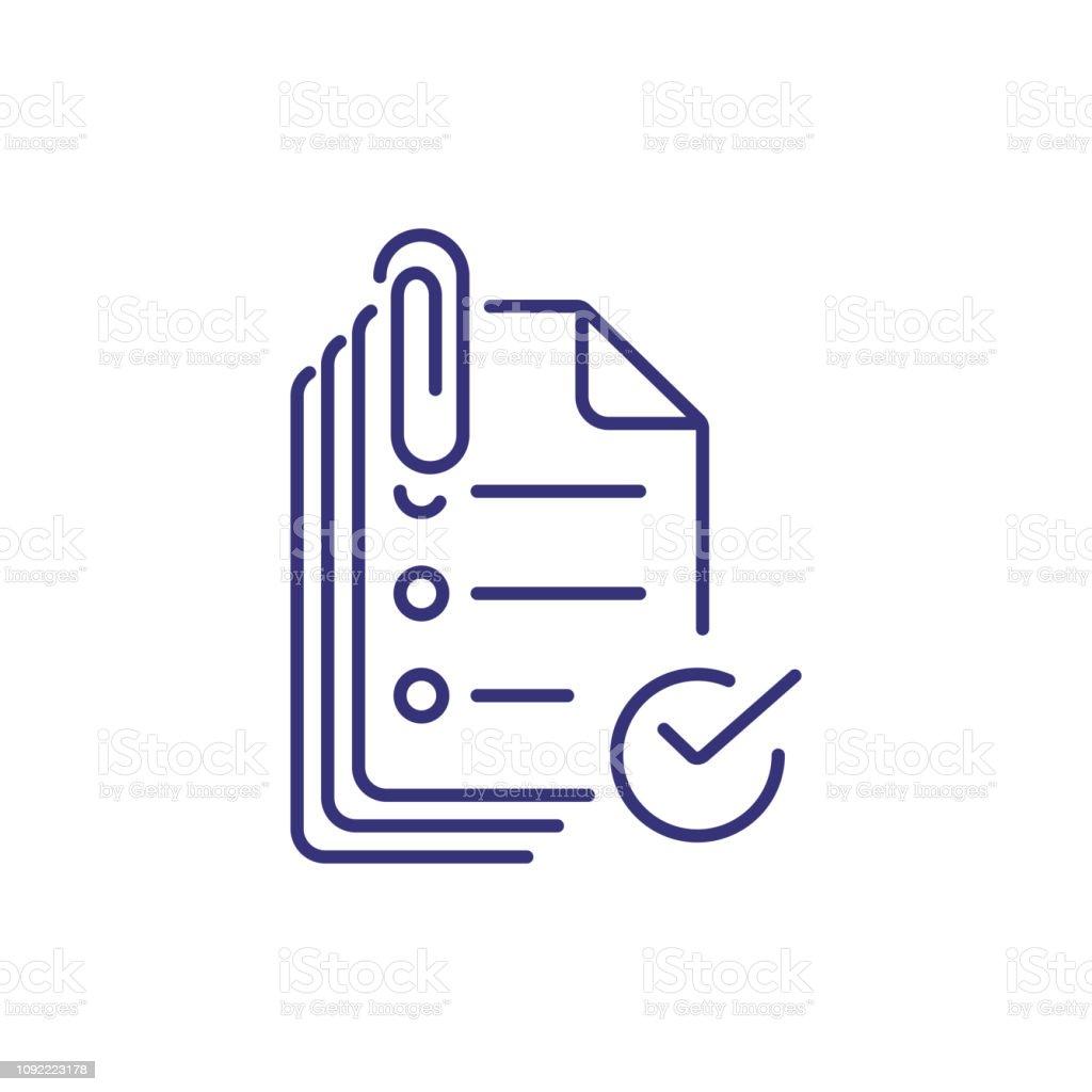 Fixer l'icône ligne documents - Illustration vectorielle