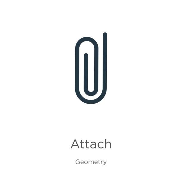 아이콘 벡터를 연결합니다. 흰색 배경에 격리 된 지오메트리 컬렉션에서 트렌디 한 플랫 부착 아이콘. 벡터 일러스트는 웹 및 모바일 그래픽 디자인, 로고, eps10에 사용할 수 있습니다. - 종이 클립 stock illustrations