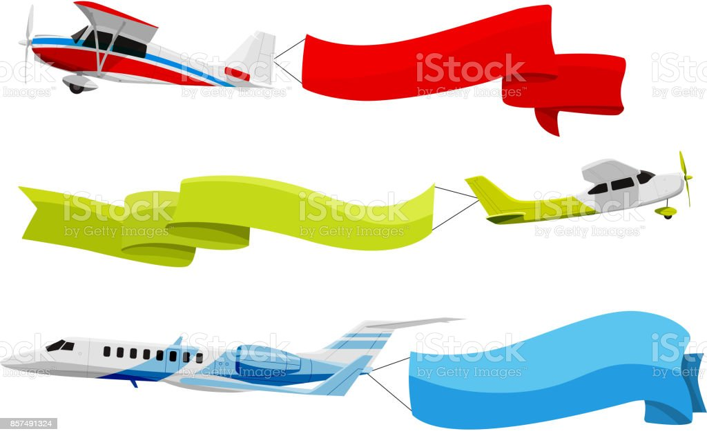 Attached banners to flying airplanes. Vector illustration in cartoon style vector art illustration