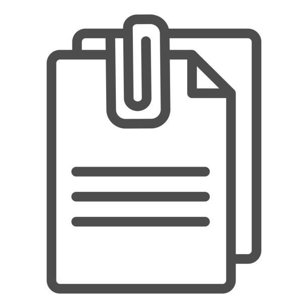 angefügtes dokumentzeilensymbol. papiere mit clip-vektor-illustration isoliert auf weiß. blätter umreißen stil design, für web und app entworfen. eps 10. - miteinander verbunden stock-grafiken, -clipart, -cartoons und -symbole