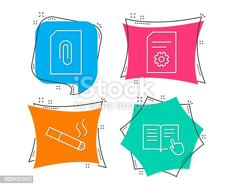 Attachment Smoking And File Settings Icons Read Instruction Sign