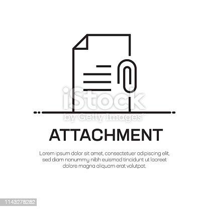 istock Attachment Vector Line Icon - Simple Thin Line Icon, Premium Quality Design Element 1143278282
