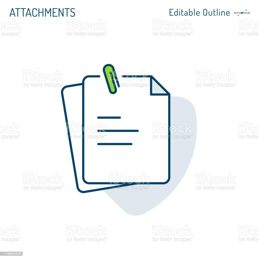 Attachments icon, paper clip, notes, document icon, notepad, clipboard, Corporate Business office files, Editable stroke - Grafika wektorowa royalty-free (Akta)