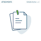 Attachments icon, paper clip, notes, document icon, notepad, clipboard, Corporate Business office files, Editable stroke