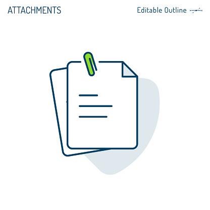 Attachments Icon Paper Clip Notes Document Icon Notepad Clipboard Corporate Business Office Files Editable Stroke - Stockowe grafiki wektorowe i więcej obrazów Akta