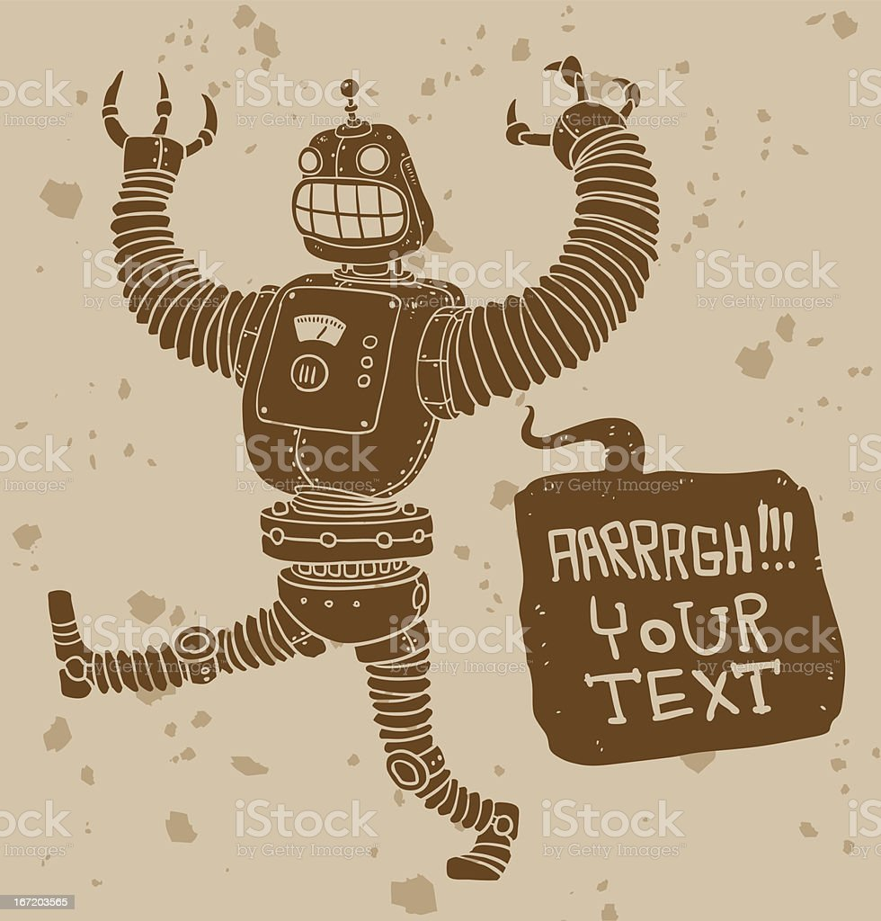 Attacking angry robot royalty-free stock vector art