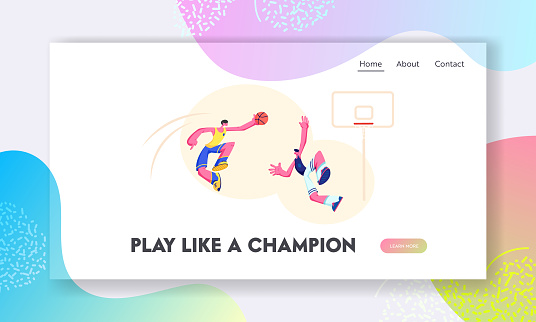 Attacking Basketball Player Trying to Score Goal into Basket, Defender Preventing. Sports Team Tournament, Sportsmen in Game. Website Landing Page, Web Page. Cartoon Flat Vector Illustration, Banner