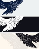 Attacking eagle banner in three variants.