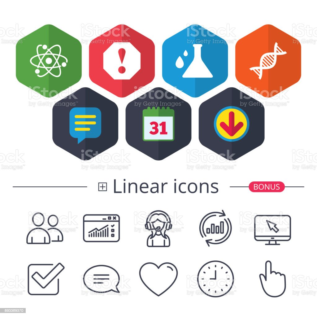 Attention and DNA icons. Chemistry flask. vector art illustration