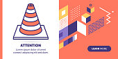 Cone vector banner illustration also contains icon for the topic.