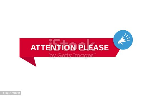 Attention banner. Warning signal template. Ribbon attention sign with megaphone sign. EPS 10