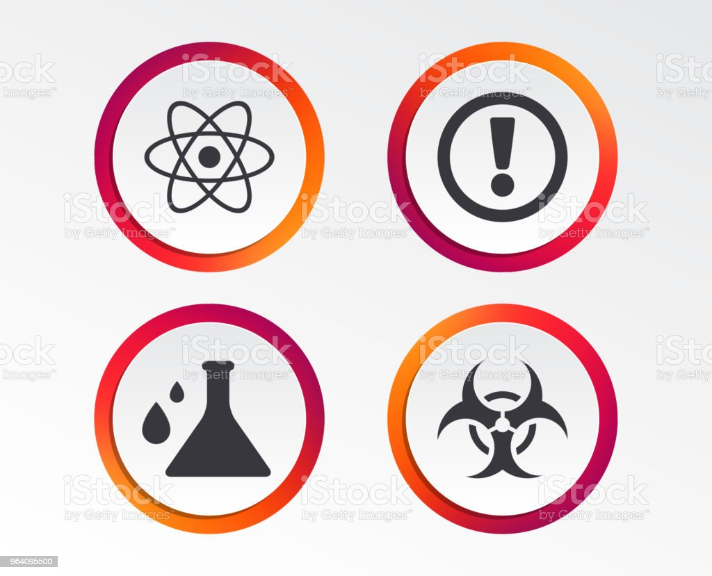 Attention biohazard icons. Chemistry flask. - Royalty-free Atom stock vector