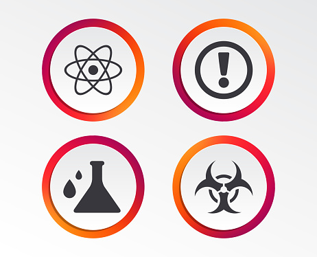 Attention Biohazard Icons Chemistry Flask Stock Illustration - Download Image Now