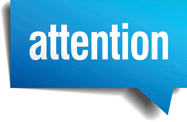 attention blue 3d realistic paper speech bubble - attention stock illustrations, clip art, cartoons, & icons