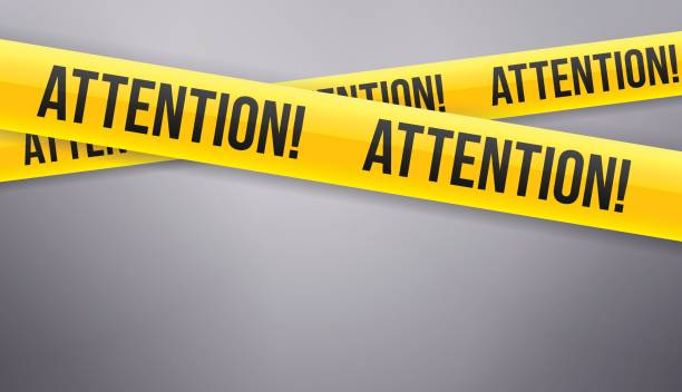 attention caution tape - attention stock illustrations, clip art, cartoons, & icons