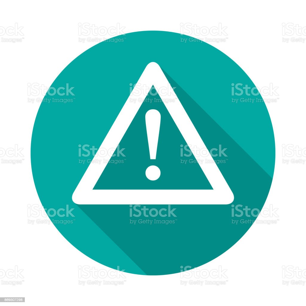 Attention circle icon with long shadow. Flat design style. royalty-free attention circle icon with long shadow flat design style stock illustration - download image now