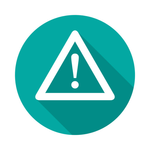 Attention circle icon with long shadow. Flat design style. Attention circle icon with long shadow. Flat design style. Warning simple silhouette. Modern, minimalist, round icon in stylish colors. Web site page and mobile app design vector element. accidents and disasters stock illustrations