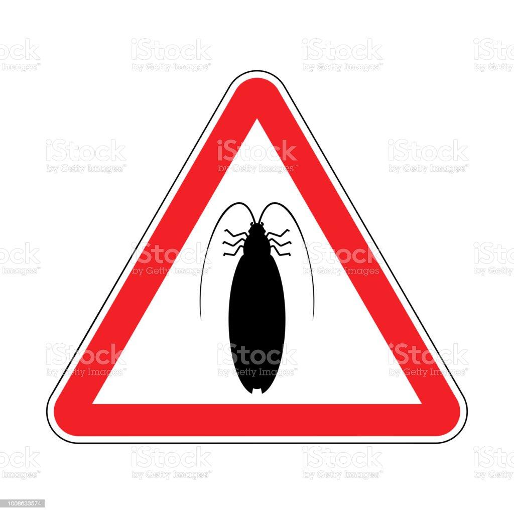 Aufmerksamkeit Kakerlake Roten Verbotsschild Gefahr Insekt