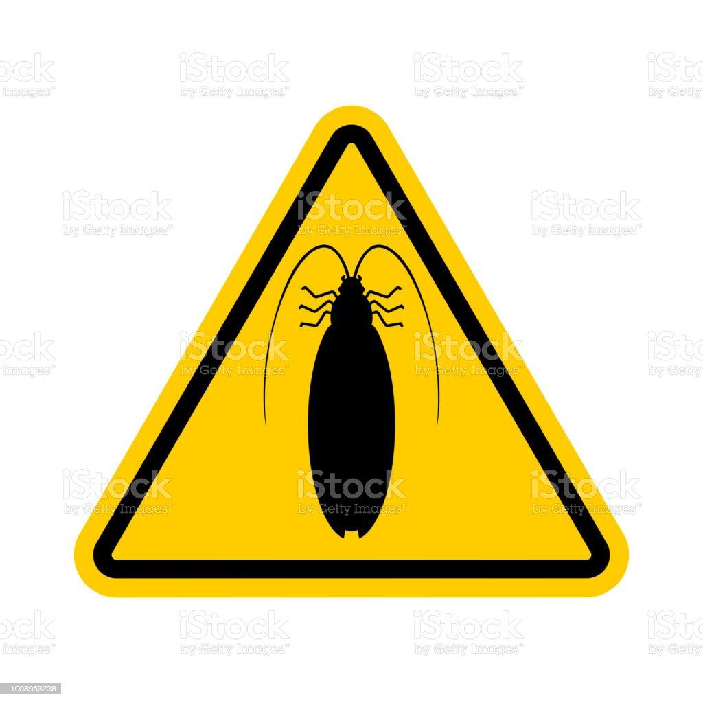 Aufmerksamkeit Kakerlake Gelbe Verbotsschild Gefahr Insekt