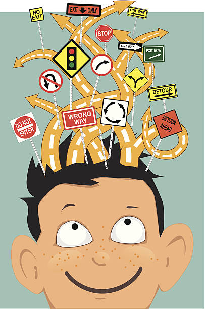 Attention deficit hyperactivity disorder vector art illustration