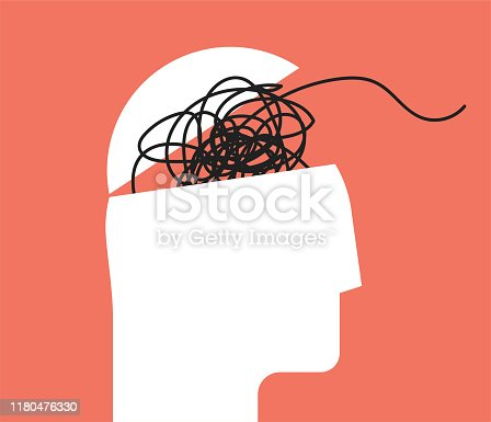 ADHD Attention disorder vector illustration of humans head silhouette with messy lines of thinks. Mental disorder icon. Vector eps 10 illustration.