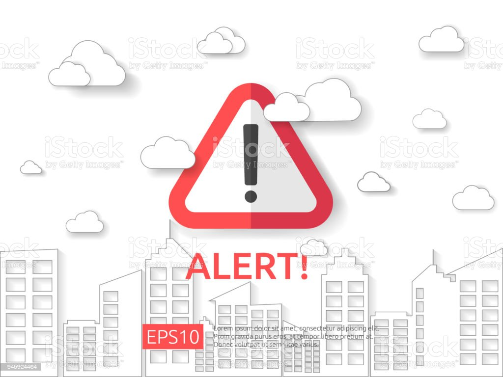 attention exclamation warning alert mark symbol sign with cloud and building background. internet security business Concept vector illustration. attention exclamation warning alert mark symbol sign with cloud and building background. internet security business Concept design vector illustration. Abstract stock vector