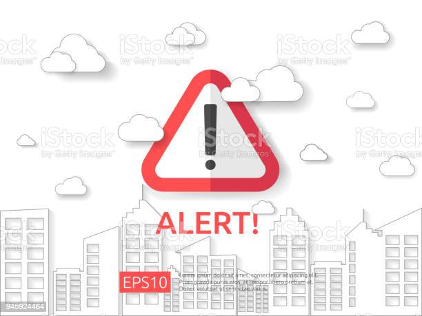 Attention Exclamation Warning Alert Mark Symbol Sign With Cloud And Building Background Internet Security Business Concept Vector Illustration Stock Illustration - Download Image Now