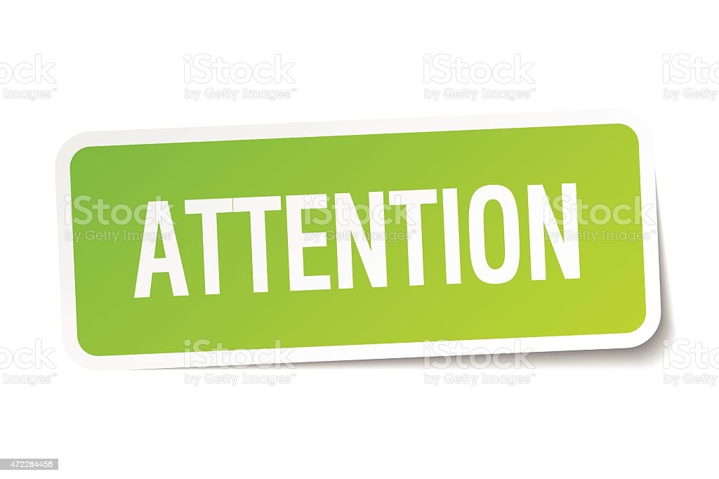 attention green square sticker on white background vector art illustration