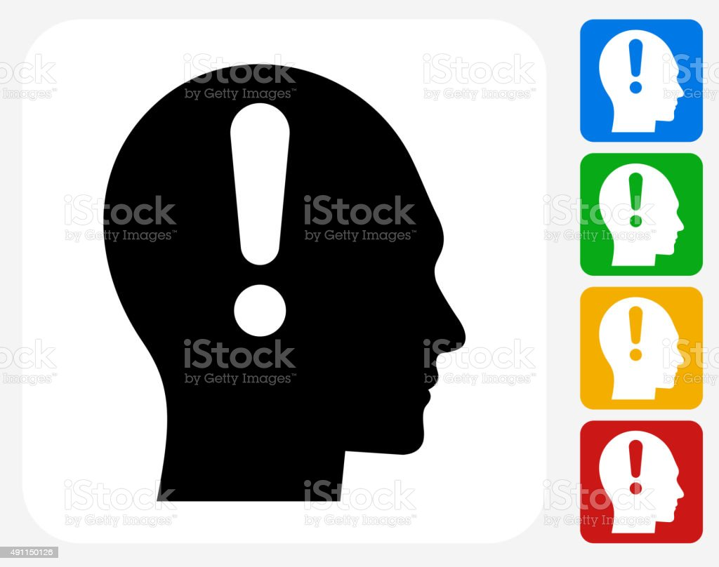 Attention Head Icon Flat Graphic Design vector art illustration