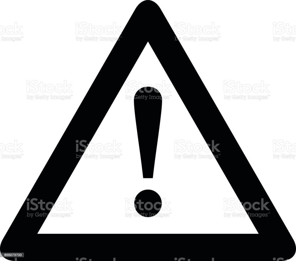 Achtung-Symbol. Schwarz, minimalistischen Symbol isoliert auf weißem Hintergrund. – Vektorgrafik