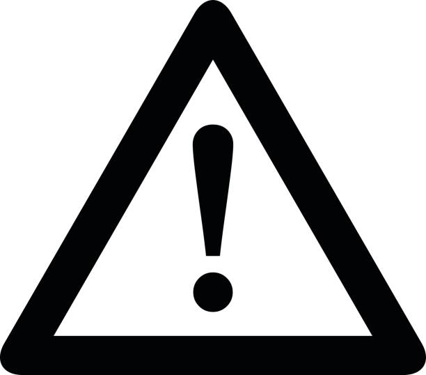 Attention icon. Black, minimalist icon isolated on white background. Attention icon. Black, minimalist icon isolated on white background. Warning simple silhouette. Web site page and mobile app design vector element. warning symbol stock illustrations