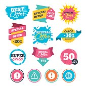 Sale banners, online web shopping. Attention icons. Exclamation speech bubble symbols. Caution signs. Website badges. Best offer. Vector