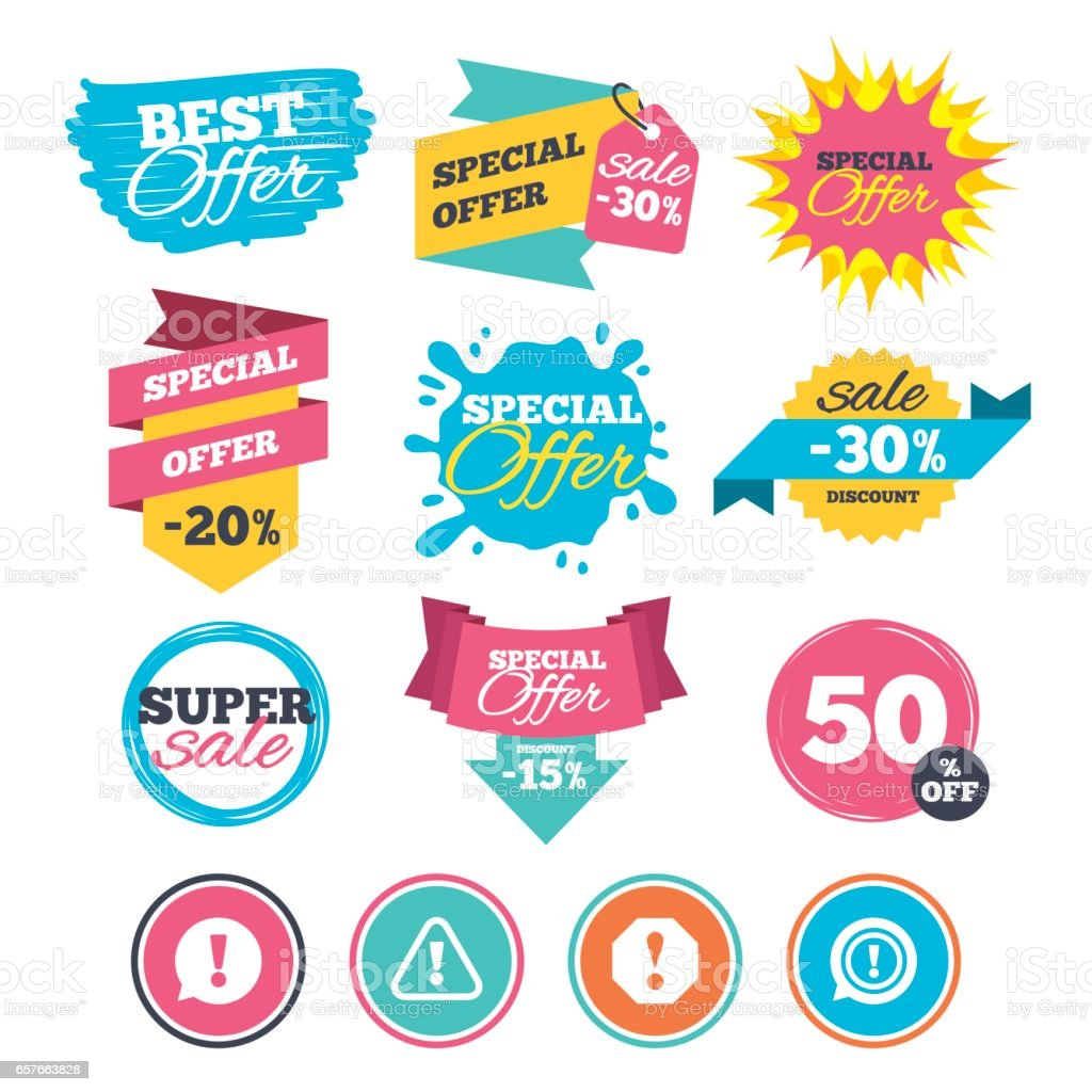 Attention icons. Exclamation speech bubble. vector art illustration