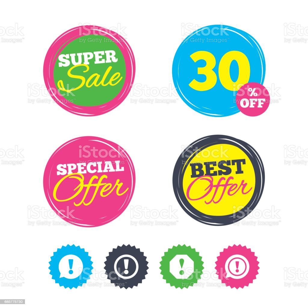 Attention icons. Exclamation speech bubble. royalty-free attention icons exclamation speech bubble stock vector art & more images of advice