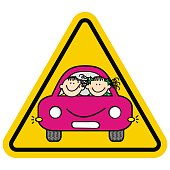 Be careful, kids in the car. Yellow triangle frame. Boy and girl on board. Funny vector illustration.