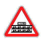 Attention motel. Danger mini hotel. Red Caution road sign. Vector illustration
